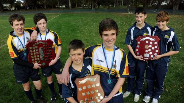 Junior Brumbies with their trophies from the weekend carnival, Under-14s' Lyal Keir and Jonty Hromow, U-12s' Joel Atkins ...