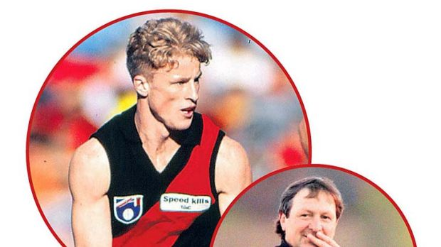 From the top: Hardwick playing at Essendon in 1995; his then coach Kevin Sheedy in 1996; Hardwick playing with Port in ...