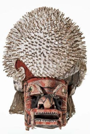 Face off … a funerary mask from Papua New Guinea made of wood, shell and coconut husk.