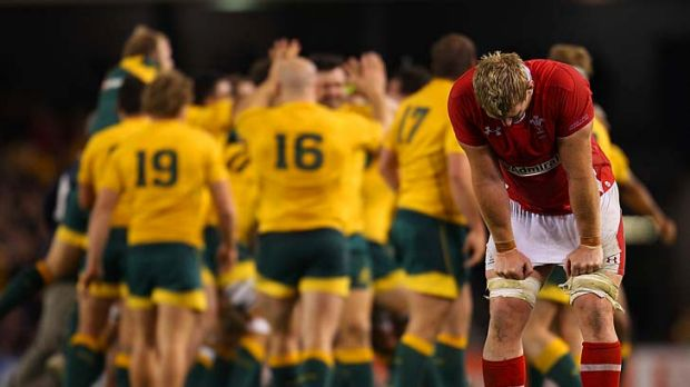Fine line: The Wallabies celebrate a two-point after-the-siren victory as the Welsh are left dejected at Etihad Stadium ...