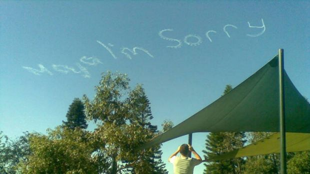 Signwriting in the sky over the eastern suburbs today. Picture: Sacha Molitorisz.