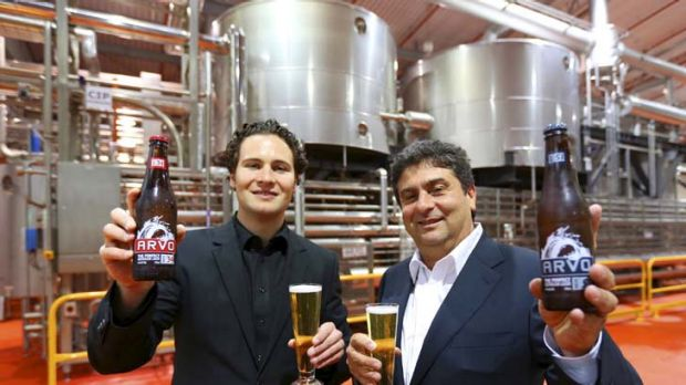 Taking on the big boys … Daniel and John Casella with their new Arvo beer.