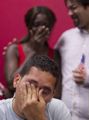 Julio Calderon, 23, who arrived from Honduras when he was 16, reacts to Mr Obama's announcement.