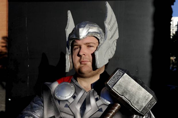 Ash Wood poses as Thor at the Supanova Pop Culture Exhibition at Homebush in Sydney.