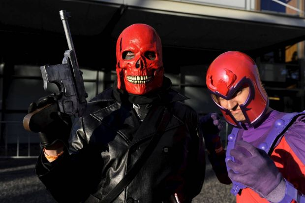 Gordon Black poses as Red Skull and Alastair Whyte as Magneto at the Supanova Pop Culture Exhibition at Homebush in Sydney.