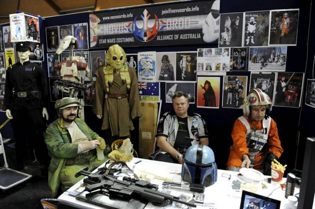 Stall holders are seen at the Supanova Pop Culture Exhibition at Homebush in Sydney.