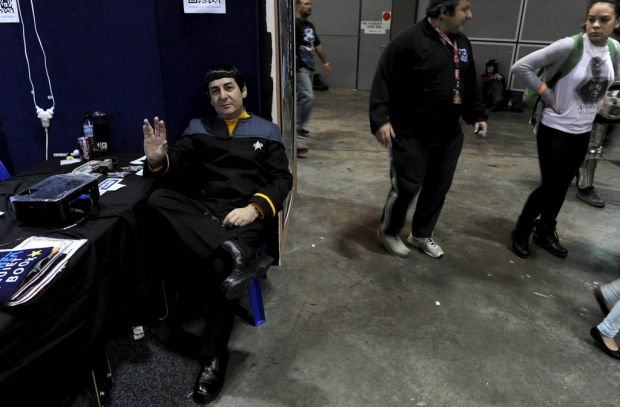 A man dressed as a Vulcan from Star Trek has a rest at the Supanova Pop Culture Exhibition at Homebush in Sydney.
