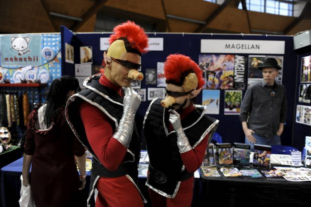 "A man and woman dressed as characters from the video game ""Space Quest"" are seen at the Supanova Pop Culture Exhibition ..."
