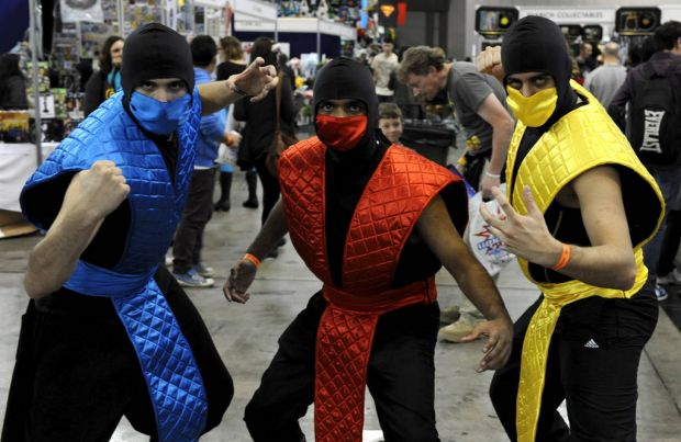 "Men dressed as Sub-Zero, Ermac and Scorpion from ""Mortal Kombat"" are seen at the Supanova Pop Culture Exhibition at ..."