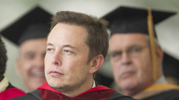 'Imagination is the limit' ... SpaceX CEO and Chief Designer Elon Musk pauses during his commencement speech for Caltech ...