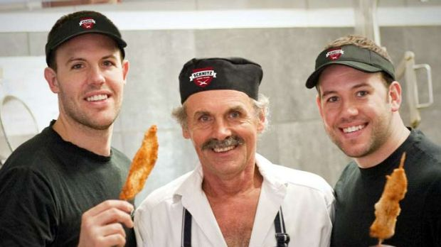 Roman Dyduk (pictured with sons Tom (left) and Andrew, opened his first schnitzel restaurant way back in 1975.