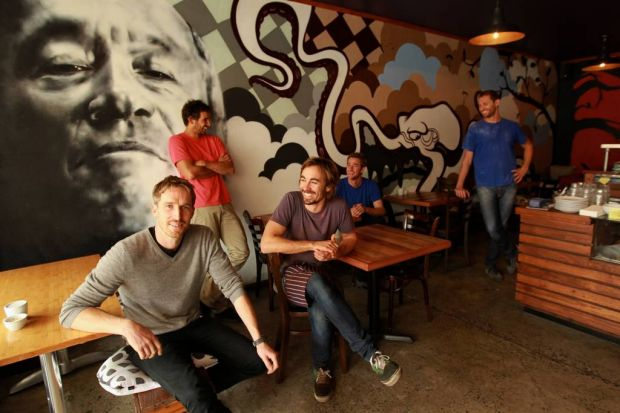 Best Food Cafe - Three Blue Ducks in Bronte. L-R: is Darren Robertson with his partners Mark LaBrooy, Chris Sorrell, Sam ...