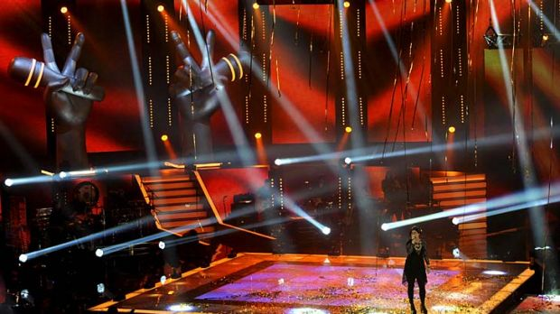 Karise Eden performs after winning <em>The Voice</em>.