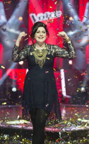 <i>The Voice</i> winner Karise Eden celebrates her victory in 2012.