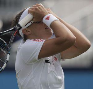 Kirsten Flipkens celebrates her win.