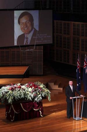 Farewell … Michael Gallacher represented the NSW government at the state funeral.