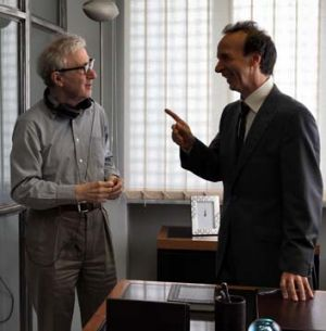 Woody Allen, left, and Italian actor Roberto Benigni during the filming of <i>To Rome With Love</i>.