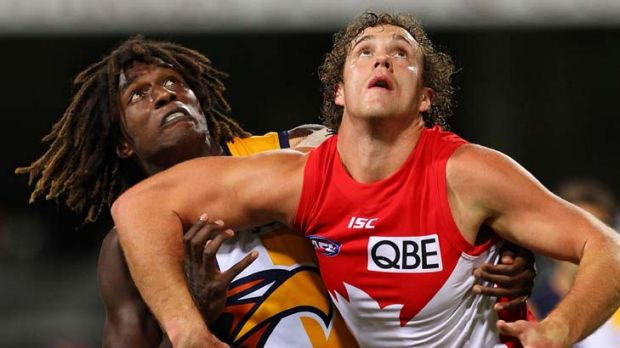 """He's an imposing figure against the other ruckmen"" ... Jude Bolton on the Swans' Shane Mumford, pictured right."
