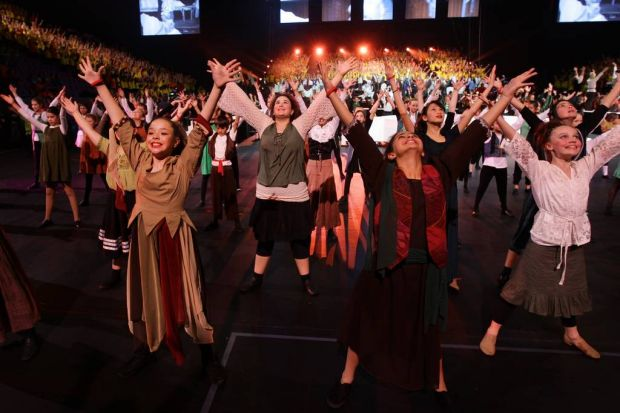 Over 5000 students rehearse and prepare for the Catholic Schools Spectacular at the Entertainment Centre.