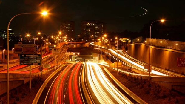 Tolls ... peak-hour traffic heads away from the city through the  Lane Cove Tunnel.