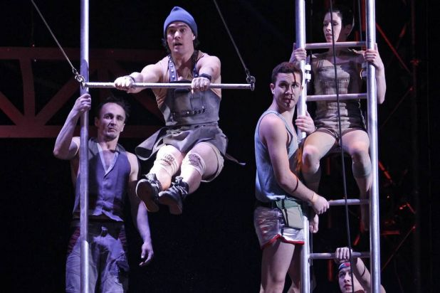 Flying trapeze artists perform aerial stunts.