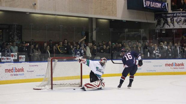 Matt Armstrong scores on the breakaway, pleasing the throng at the South Pole end of the Icehouse.