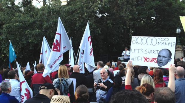 More than 300 people rally outside State Parliament this afternoon amid a dispute over teacher pay and conditions and ...
