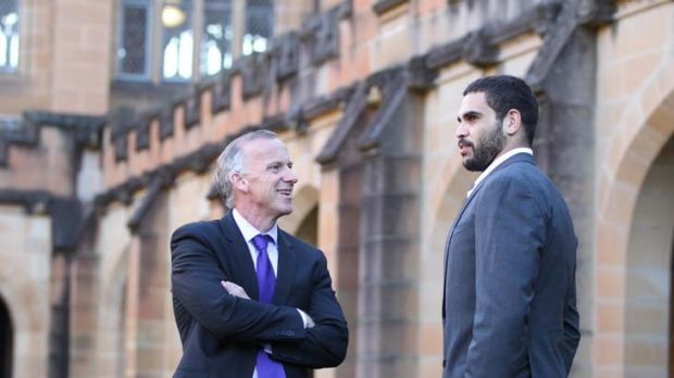 Centre of learning … the vice-chancellor of the University of Sydney, Michael Spence, talks with Souths star Greg ...