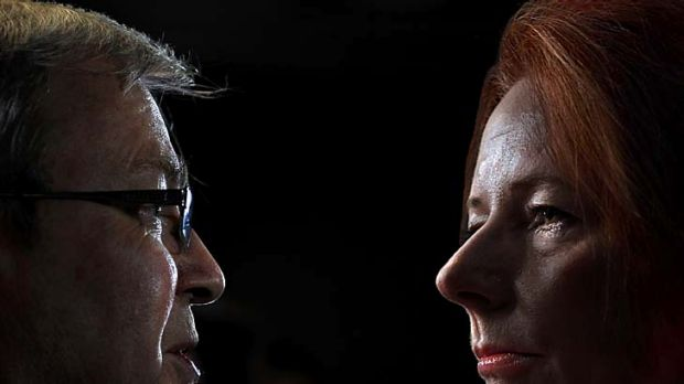 """""""Circling"""" ... supporters of Julia Gillard are nervous about another possible leadership bid by Kevin Rudd."""