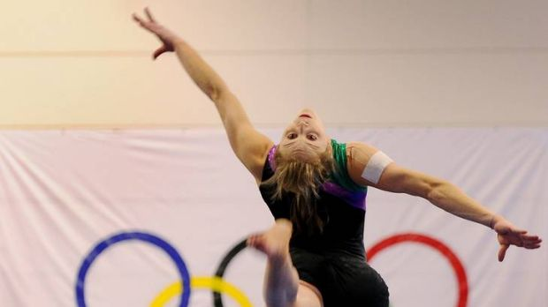 Lauren Mitchell trains after the Women's Artistic Gymnastics team to head to London was announced at the AIS Gymnastics Hall.