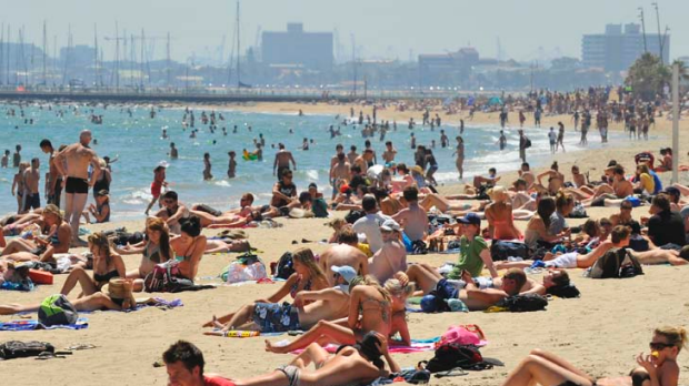 St Kilda beach is one of Melbourne's hottest places, according to users who 'check in' on social networking site Facebook.