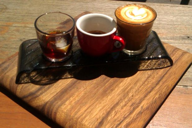 <b>The Wedge Espresso</b> <br>A long, cool wedge of a café with Iced Milos ('heaps on the bottom, heaps on top, milk and ...