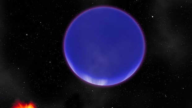"An artist's conception of a ""hot Neptune"" known as Kepler-36c as it looms in the sky of its neighbor, the rocky world ..."