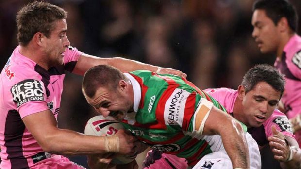 Tough going ... Scott Geddes takes on the Brisbane defence in a hard road trip for the Rabbitohs.