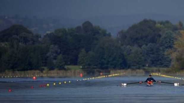 A rower on Lake Burley Griffin this year.