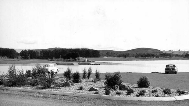 Lake Burley Griffin in 1964 when it was still being filled.