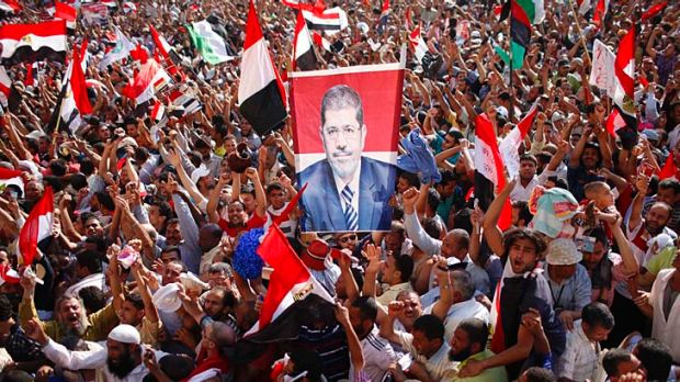 Supporters of Egypt's new president, Mohamed Mursi, celebrate his victory in Tahrir Square.
