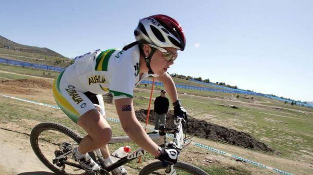 Canberra's Rebecca Henderson competing in the junior women's cross country event at the mountain bike world ...