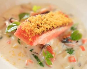 Ocean trout with miso chowder.