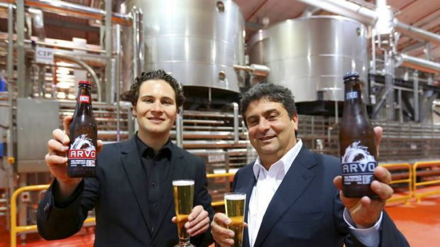 Yellow to amber: Daniel Casella (left) and John Casella with the beer they have added to their company's ...