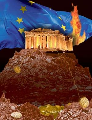 Playing with fire … the European crisis weighed heavily on markets. <i>Illustration: Jo Gay</i>