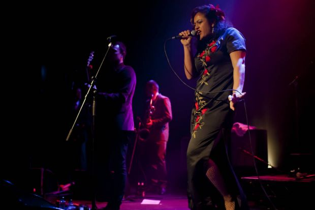 Kylie Auldist of the The Bamboos performing.