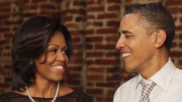 Democratic date … Michelle and Barack Obama in a still from the video, in which they remember their first date ...