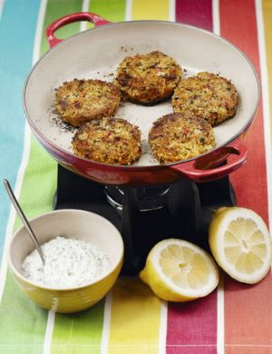 Millet patties with chive and sour cream sauce from Trupps' Wholefoods Kitchen.