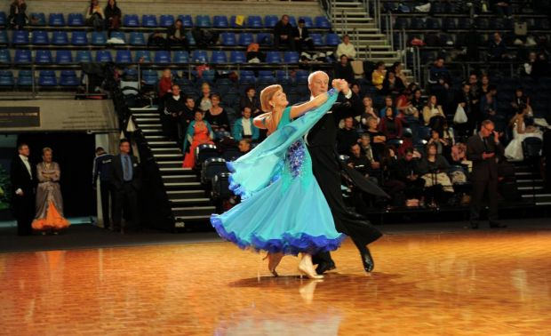 Competitors in the Masters 2 category, Douglas Bridge and Alison Jacobs from Tasmania, do their stuff on the dance floor.