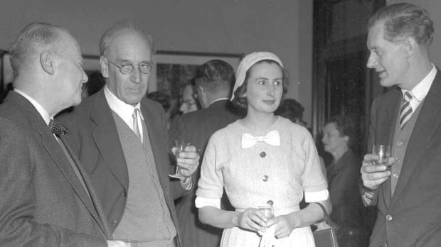 K.  Slessor, R.D Fitzgerald, Rosemary Dobson and John Thompson at a party to launch the Penquin Book Of Australian Verse ...