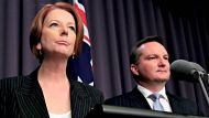 Prime Minister Julia Gillard and Immigration minister Chris Bowen during a press conference at Parliament House Canberra ...