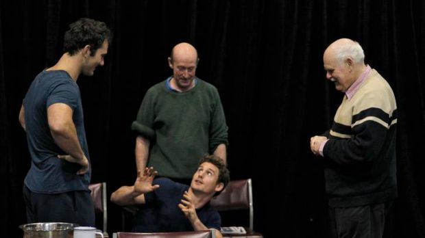 Luke McKenzie, Cain Thompson, RIchard Bligh and director Malcolm Robertson in rehearsals for <i>The McNeil Project</i>.