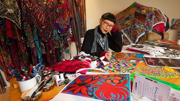 Labour of love ... Jenny Kee at work in her studio in Blackheath.