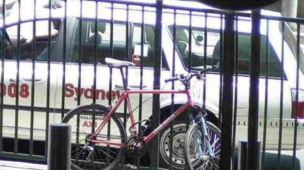 Not-so-fast getaway ... the offender's vehicle of choice - a pink pushbike.